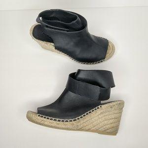 Vince Peep Toe Leather Espadrille Wedge size 7